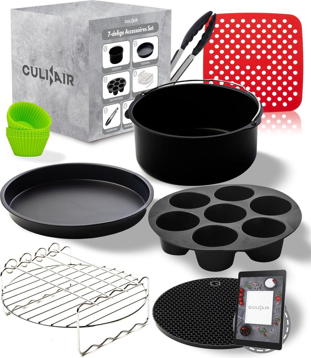 XL Airfryer Accessoires Set - Inclusief Cakeblik, Muffinvorm, Spiesenrek, Pizzapan, Muffin Cups, Bakmatje en Onderzetter