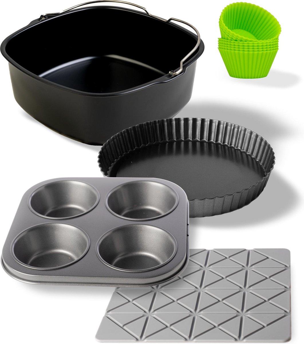 Culi-N-Air XXL Accessoires Geschikt voor Airfryer - Inclusief Bakblik, Muffinvorm, Quichevorm & Onderzetter