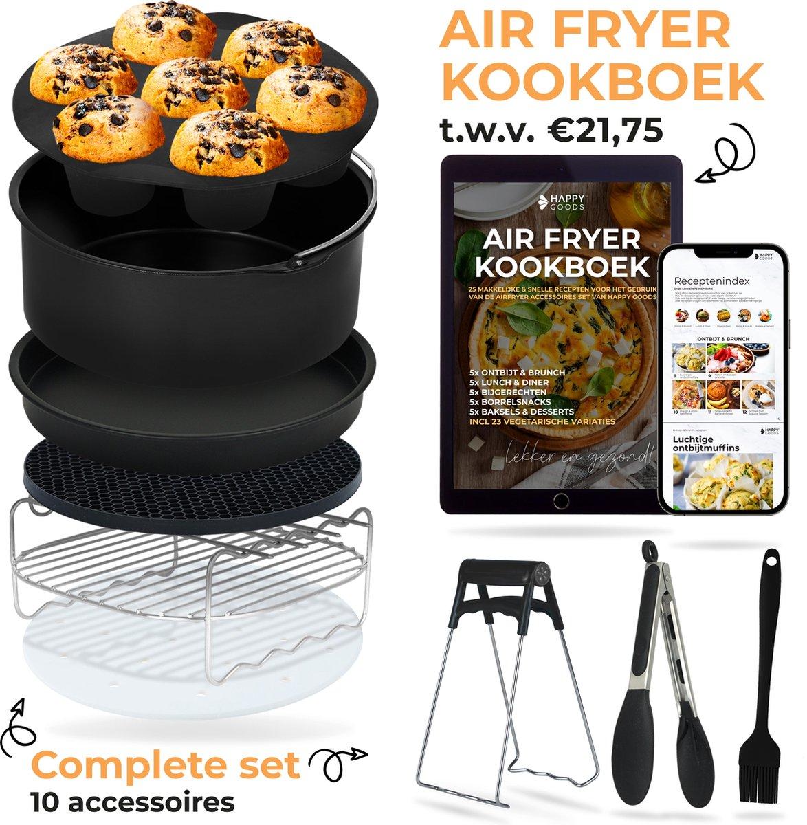 Happy Goods® Heteluchtfriteuse airfryer Keuken accessoires Set XL en XXL incl Airfryer KOOKBOEK TWV €21,75- Airfryer bakvorm - airfryer accessoires xxl - ⌀ 20 cm