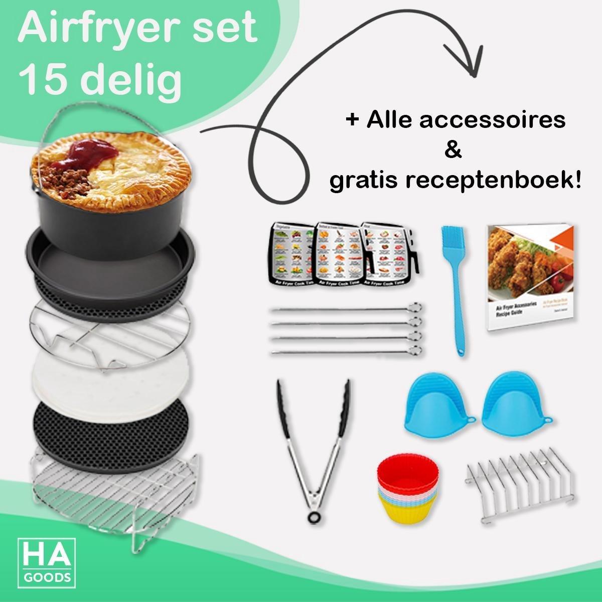HA Goods Heteluchtfriteuse Accessoires - Set 15 Delig -  20cm