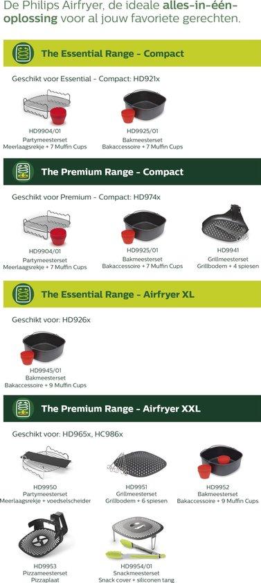 Philips Airfryer HD9904/01 - Aifryer accessoire - Grillrooster & Muffinvormen voor Airfryer