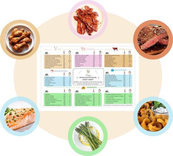 Cuisio® Heteluchtfriteuse Cheat Sheet - Kookboek - Receptenboek - 26 x 17 cm - Geleverd met Sterke Stickers - Vaderdag Kados