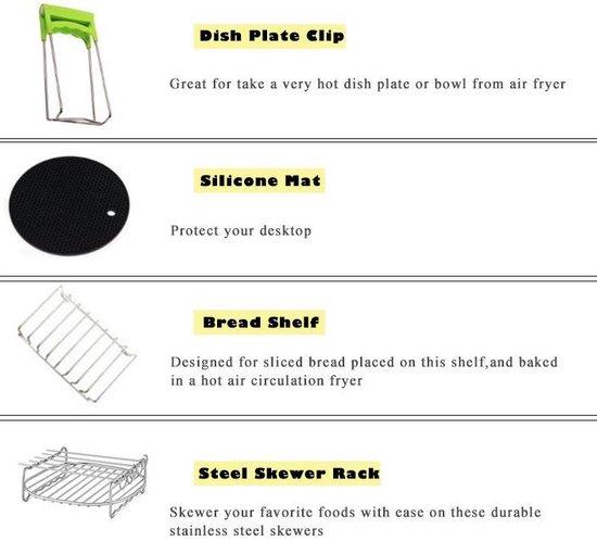 HighQ Products |8-delige set|Heteluchtfriteuse accesoires + kookboek+ Heteluchtfriteuse Accessoires Set -ø20 cm Geschikt voor XL