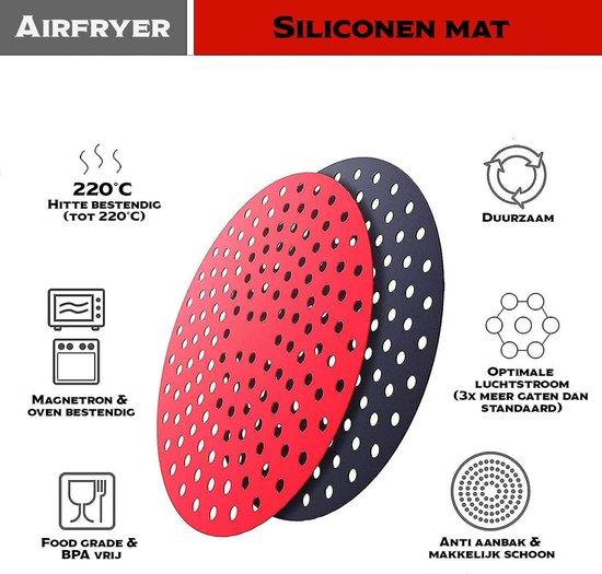 IMLI Heteluchtfriteuse siliconen mat   Anti-aanbak mat   Heteluchtfriteuse accesoires - 2 stuks