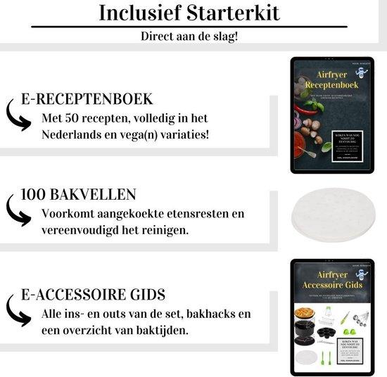 Heteluchtfriteuse accessoires - 17-delig-  4 maatschepjes - E-Kookboek