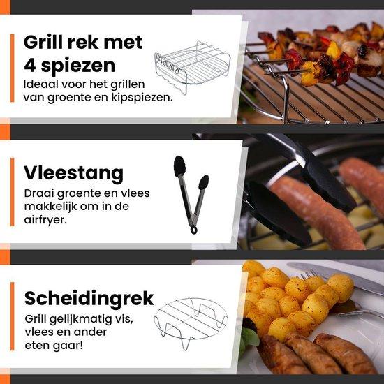 Promida 9-Delige Heteluchtfriteuse XL Accesoires Grill set ⌀19,5 - incl. Ebook
