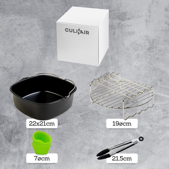 Culi-N-Air Heteluchtfriteuse XXL Accessoire Set - Inclusief Ebook - 5-Delig