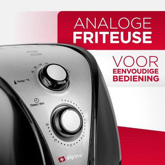 Alpina Hetelucht Friteuse - XL 3,2 liter - 80-200 Graden - 1500 Watt - Zwart