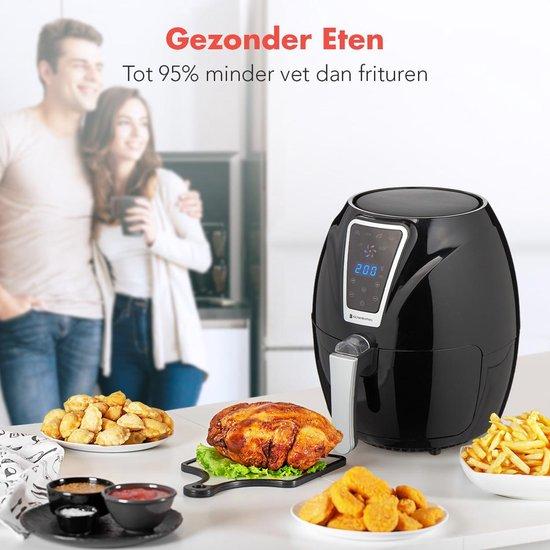 KitchenBrothers - Hetelucht Friteuse - LED Touch Screen - Incl. Frituurmand - 1300W - 3,5L - Met Kookboek - Zwart