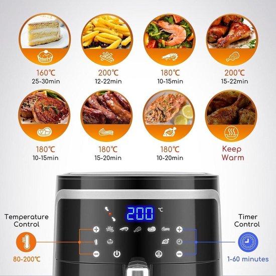 Aigi Frina - Hetelucht Friteuse - Timer - 7 Liter - LED Touchscreen - Zwart