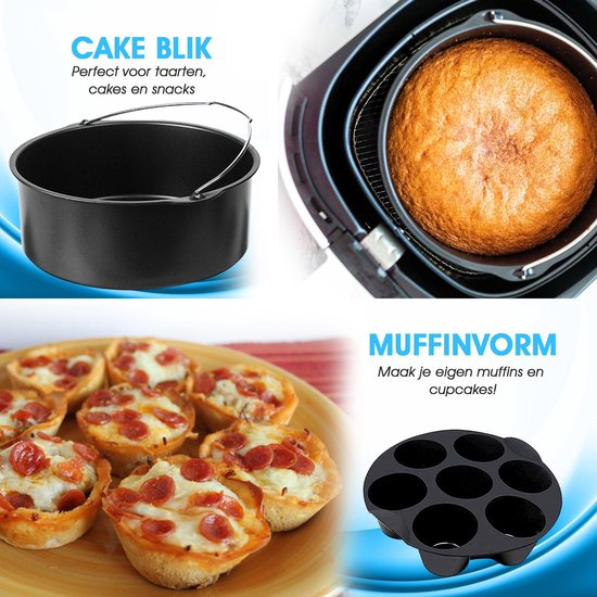 Airfryer accesoires - Hetelucht friteuse accesoires - Friteuse Accessoire Set ⌀ 20cm - voor XL INCL kookboek