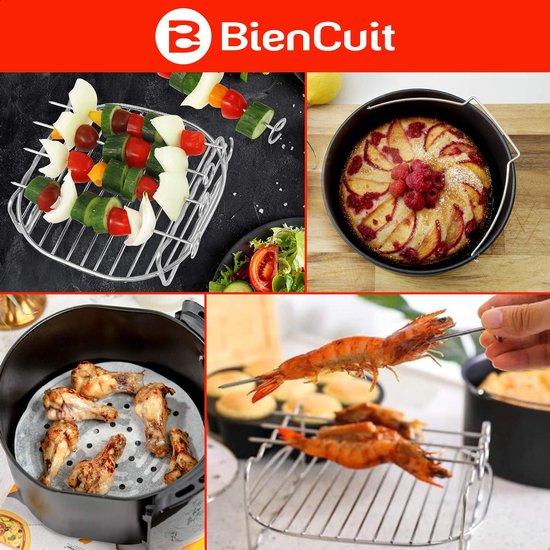 BienCuit® Universele Heteluchtfriteuse Accessoires set XL / XXL ⌀ 20 cm - Inclusief Kookboek - Bakplaat Grillplaat Bakvorm
