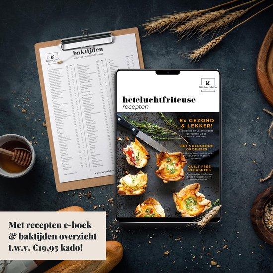 Heteluchtfriteuse Grillset XL en XXL - ø22,5cm - 7-delig - Incl. Recepten E-boek - Airfryer Grillrooster met 5 Spiezen en Serveertang