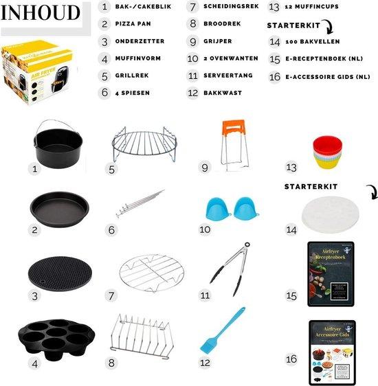 Heteluchtfriteuse accessoires ø 20 cm - 16-delige accesoires set - Inclusief E-Kookboek & E-Gids