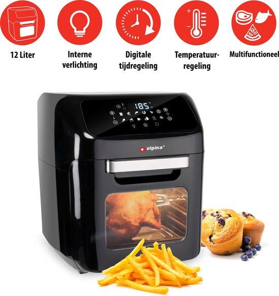 Alpina Hetelucht Oven en Hetelucht Friteuse - Digitale Tijd- en Temperatuurregeling - 1800 Watt - 12 Liter - Zwart