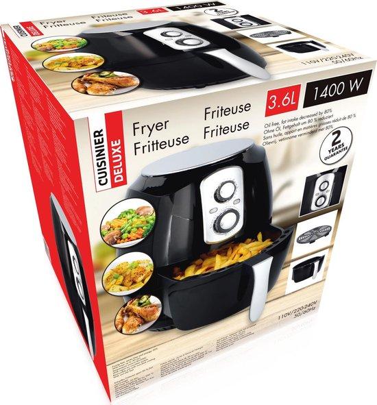 Cuisinier Deluxe - Hetelucht friteuse - Zwart - XL