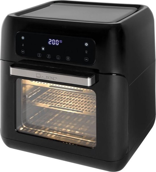 Clatronic FR 3747 H hetelucht-friteuse, olie- en vetvrij, 11 liter, sensor touchbediening, LED-display, zwart