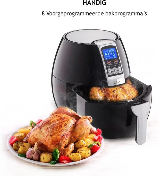 Zilan - hetelucht friteuse - 1500 Watt - 8 Programma - 3.5 liter inhoud