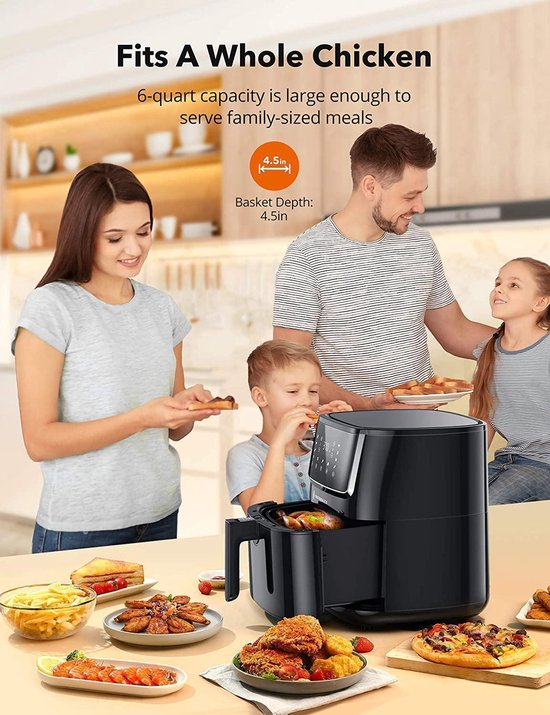 TaoTronics TT-AF001 Air Fryer  Large 6 Liter 1750W Air Frying Oven Met Touch Control Panel