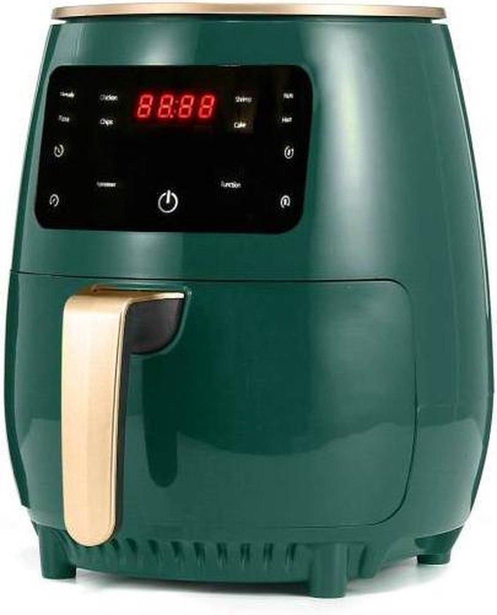 1400W 4.5L Air Fryer Olie gratis Gezondheid Friteuse Fornuis Multifunctionele Smart Touch LCD Airfryer voor Frieten Pizza Green EU Plug